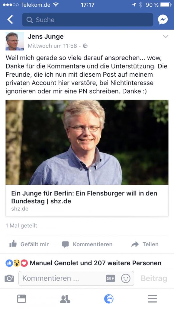 Kandidat Jens Junge im sh:z - Screenshot Facebook