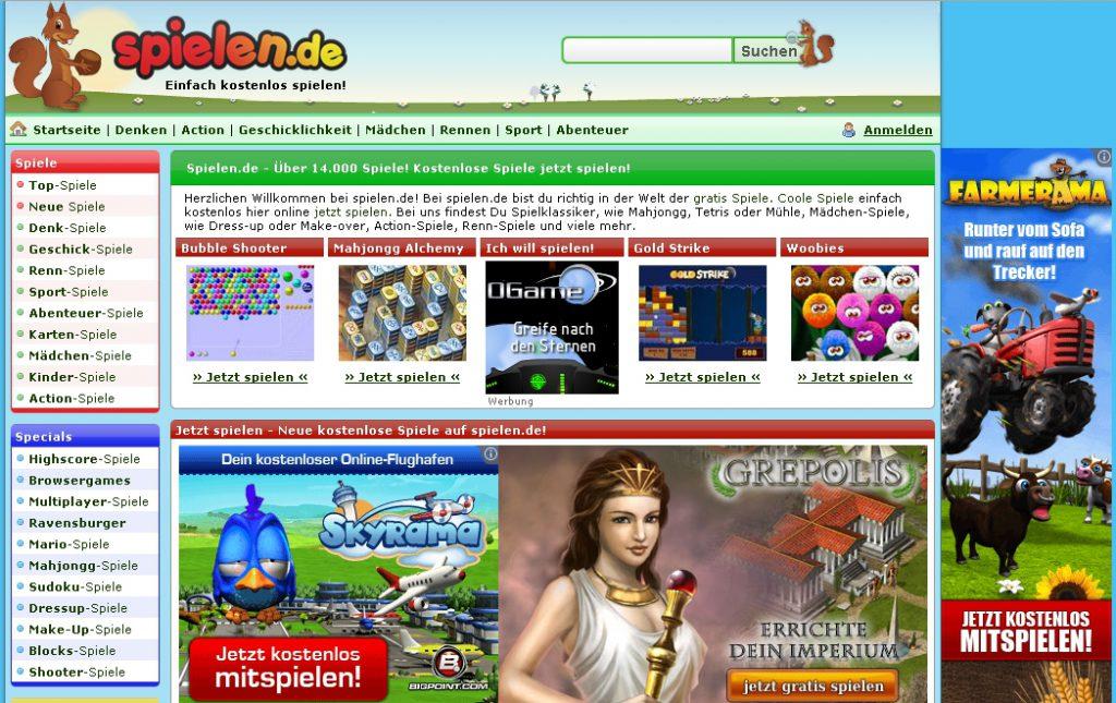 Mediatrust: spielen.de, Startseite 2012