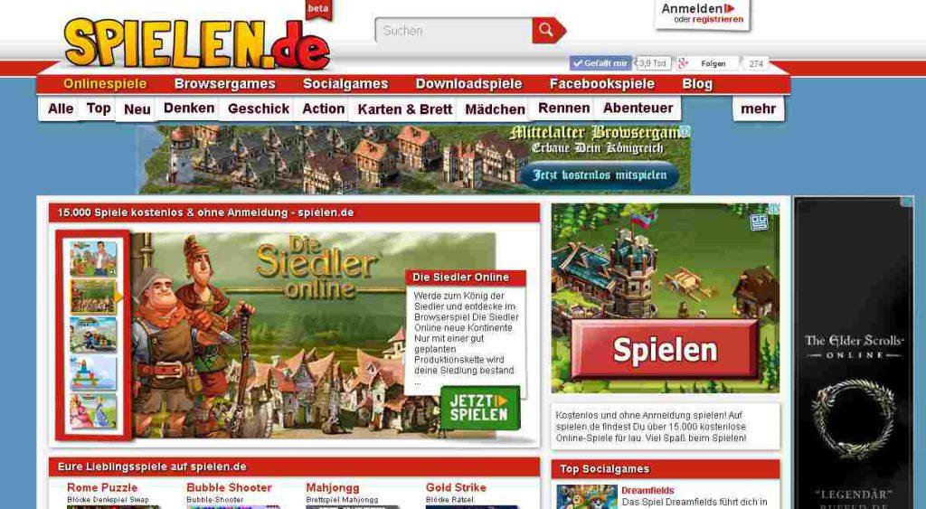 spielen.de Screenshot Startseite 30.11.2013